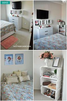 Um quarto, pouco espaço e muito romantismo no ar! Com pequenos toques, conseguimos deixar esse quarto de casal ainda mais charmoso.  Confira…