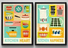 2 Quadros Cozinha Pop Art Moldura Preta