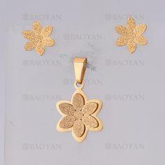 juego dije con aretes de flor de dorado en acero inoxidable-SSSTG1074683