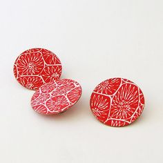 Colourful brooch set red contemporary jewellery by DittanyRose