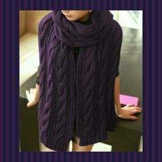 Large Soft Knit Scarf Purple NWOT Great gift idea! Free holiday gift wrapping!   Lovely soft cable knit scarf in dark purple eggplant color. Very long & wide, stay warm in style! Made from soft non-itchy acrylic. I will ship folded with pretty bow- And gift wrap on request!  Brand NWOT. Comment for measurements.  NO TRADES OR PP. Accessories Scarves & Wraps