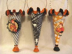 HALLOWEEN Vintage Cone with Crepe Paper Ruffles and Glitter by Stacy Marie. $16.00, via Etsy.