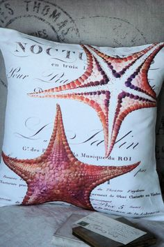 Throw Pillow Beach DecorThe Coral Starfish by JolieMarche on Etsy, $35.00