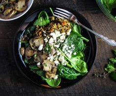 Lentil, Mushroom and Spinach Salad - Life'd