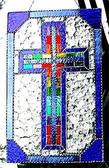"""Stained Glass Cross Suncatcher, Christian Design Sun Catcher, Christian Glass Art, Glass Suncatchers, Glass Sun-Catcher, 10"""" x 16- G-9638-BL by StainedGlassDelight on Etsy"""