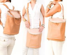 Convertible Brown Leather Laptop Backpack by BorboletaAffair