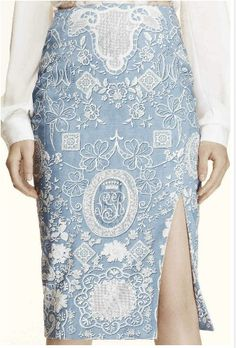 Pale blue embroidered skirt from Altuzarra 2014