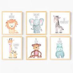 Set of 6 Watercolor Nursery Animals - Available as Instant Download Printables or Prints by Adoren Studio These printables are absolutely adorable, and they will add both an inspiring and whimsical charm to your little one's nursery or bedroom! These printables also make wonderful baby shower gifts! Available as a printable or professionally printed on fine-art quality watercolor paper.