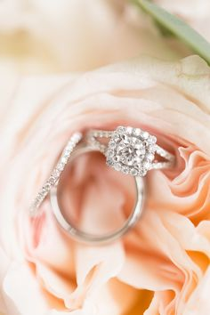 Gorgeous halo engagement ring: http://www.stylemepretty.com/wisconsin-weddings/arena-wisconsin/2016/06/08/even-rain-couldnt-ruin-this-pretty-pink-wedding/ | Photography: Maison Meredith Photography - http://www.maisonmeredith.com/