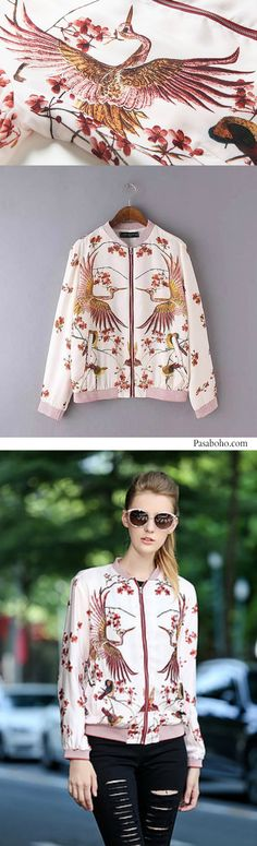 Sakura Bomber Jacket is Available at Pasaboho - $68 ( Free Shipping Worldwide ) Free Spirit hippie girls sharing woman outfit ideas. bohemian clothes, cute dresses and skirts. Fashion trend and styles from hippie chic, modern vintage, gypsy style, boho chic, hmong ethnic, street style, geometric and floral outfits.  We Love boho style and embroidery stitches.