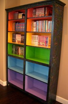 Bookshelf. Maybe not rainbow colors, but I like the concept