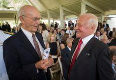 Neil Armstrong Family Memorial Service Apollo 11 Astronauts Michael Collins, left, and Buzz Aldrin