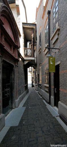 A narrow residential laneway at Xintiandi (Newland) in Shanghai CBD