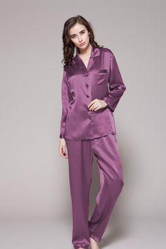 Full-length Silk Pajamas For Women - Pajamas with matching hair tie