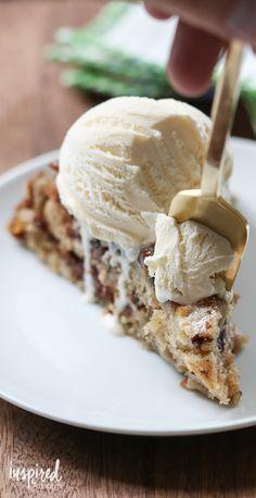 Skillet Banana Cake with Chocolate and Hazelnuts