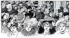 Antique Gibson Girl Print Easter Ladies' Hat Parade