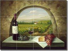 "Vineyard View - Tuscan Landscape Ceramic Tile Mural 18"" x 24"" Kitchen Shower Backsplash by Artwork On Tile, http://www.amazon.com/gp/product/B0037TYCVY/ref=cm_sw_r_pi_alp_Kvr6pb0PDYW1Z"