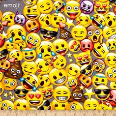 Emoji All the Emoji from @fabricdotcom  Licensed by Global Merchandising Services for David Textiles, this licensed cotton print fabric is perfect for quilting, apparel, and home decor accents. Fabric is not for commercial use. Colors include yellow, grey, black, white, blue, purple, and red.