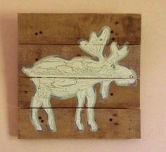 Moose decor 14x14Pallet ArtRustic wall artOn by RusticTreeHouse, $50.00