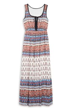 Primark - Orange Print Lace Up Maxi
