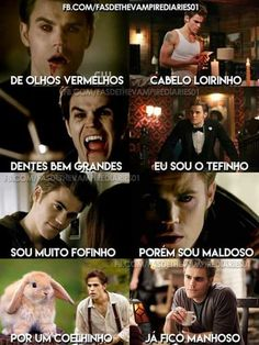I have no idea what the texts are saying but this is still cute Memes Vampire Diaries, The Vampires Diaries, Serie The Vampire Diaries, Vampire Diaries The Originals, Stefan Salvatore, Caroline Forbes, Frases Tvd, Grey's Anatomy, Klaus Tvd