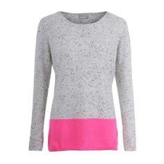 Orwell + Austen Cashmere - Speckled Grey & Neon Pink Colour Block... ($170) ❤ liked on Polyvore featuring tops, sweaters, cashmere top, round neck sweater, neon pink top, color-block sweater and gray cashmere sweater