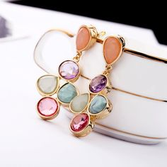 Colorful Dangle Earrings With Colorful Artificial Gemstones And Alloy Back Details - View All - New In