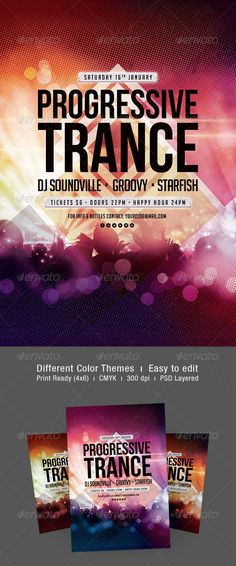 """Progressive Trance Flyer  #GraphicRiver           Progressive Trance Flyer  The PSD file is very well organized in folders and layers. You can modify everything very easy and quick. Changing the color style, pictures and the typo is no problem. The main folders that will require most customization are highlighted in different colors.  PRINT READY : 1275px x 1875px (4×6"""" with .25"""" bleeds), CMYK , 300DPI, .PSD layered  The free fonts used in the design are:     Big Noodle Titling…"""