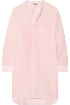 Pastel-pink cotton-poplin Partially concealed button fastenings through front 100% cotton Machine wash