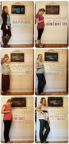 Weekly bump pregnancy photos. I like that it uses the chalkboard and the typography on the wall!