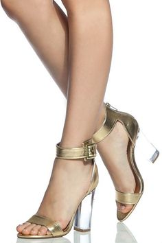 416e534ca1d3 Gold Faux Leather Ankle Strap Translucent Heels Stiletto Heels