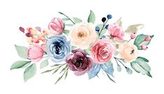 Watercolor flowers bouquet. Pink, yellow and indigo peonies. Floral summer arrangement for printing invitations, greeting cards, wall art, stickers and other. Isolated on white. Hand painting.: comprar esta ilustración de stock y explorar ilustraciones similares en Adobe Stock   Adobe Stock