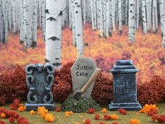 Tombstone Set #2 **by Skinny Bones Designs* Miniature Halloween Village Graveyard*