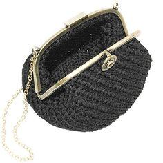 UMA - Italian Handmade - Bolso hecho a mano. Crochet. Negra y elegante. Evening black clutch purse with vintage clasp.