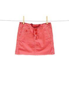 Fray bottom mini skirt with drawstring