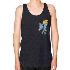 Blue Butterfly and Yellow Flower Unisex Fine Jersey Tank (on man)