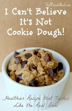 Healthy cookie dough: surprising star ingredient  and unbelievably delicious taste. SO close to the real deal! #glutenfree