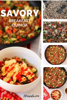 This is a savory protein-packed breakfast option, and perfect if you're sick of oatmeal in the morning. Quinoa is filling, nutrient-dense, and this savory version is delicious topped with scrambled eggs and hot sauce.