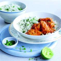 Quick chicken tikka with coriander rice recipe. Quick, cheap and utterly delicious, this chicken tikka recipe is sure to become a firm favourite.