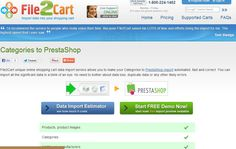 http://www.file2cart.com/shopping-cart-data-import-options/5161-import-categories-to-prestashop  You can import products and product categories to your PrestaShop store catalogue faster and easier. File2Cart allows to move product categories from CSV/XML/TXT/XLS/XLSX to your database fast and easily. All you need to do is go through a simple setup: provide your store details, a file or feed and confirm the start of category import to PrestaShop