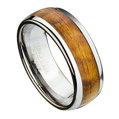 Mens 8mm Comfort Fit Tungsten Ring with Eternity Style Exotic Hawaiian Koa W * Continue to the product at the image link.