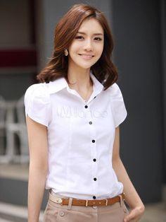 9b302d3b7c5d29   24.99  Formal White Turndown Collar Short Sleeves Cotton Woman s Shirt  Frock Dress