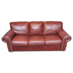 Dark Mahogany Leather Sleeper Sofa