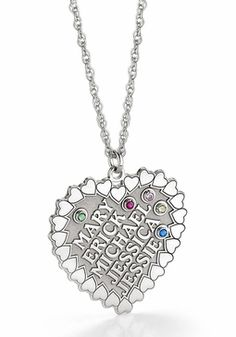 Heart shaped family necklace features up to 5 kids names and birthstones. Available in sterling silver or gold.