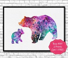 Mother Bear & Cub Watercolor Print Cute Baby Bear by ArtsPrint