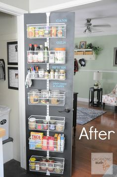 These homeowners used chalkboard paint behind hanging shelves to create customizable labels for their storage space.