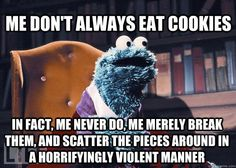 """Hehe. Sesame Street! Aren't you a """"veggie monster"""" now though? Kinda ruined my childhood when they made that change."""