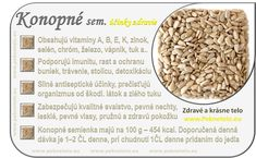 Info obrazok konopne semienka Raw Food Recipes, Healthy Recipes, Food Art, Natural Health, Detox, Beans, Lifestyle, Vegetables, Fit