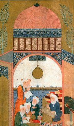Manuscrit Persan de Nasir ad-Din at-Tusi à l'observatoire de Maragha 15eme siècle;Abû Ja`far Muhammad ben Muhammad ben al-Hasan Nasîr ad-Dîn at-Tûsî1 (1201, à Tus en Iran – 1274) est un philosophe, mathématicien, astronome, théologien et médecin perse.chiite ayant aidé les mongoles dans la destruction de Baghdad.