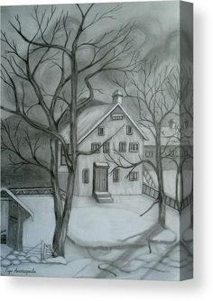 Canvas Print, sketch,drawing, house,trees,bare,yard,rural,scenery,view,snow,winter,landscape,backyard,barn,building,architectural,oldtime,exterior,calm,peaceful,tranquile,solitude,loneliness,quiet,silent,outdoors,morning,day,american,realism,fairytale,pencil,graphite,black,white,in,at,of,by,for,with,the,a,and,artwork,hand,made,home,hotel,office,decor,popular,best,products,items,for sale, online,fine art america